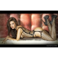 SEXY FISHNET BODYSTOCKING CATSUIT DESSOUS GOGO BLACK Onesize (UK 8,10,12)