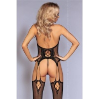 SEXY FISHNET BODYSTOCKING CATSUIT IN CROTCHLESS SUSPENDER...