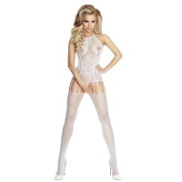 SEXY MESH BODYSTOCKING CATSUIT CROTCHLESS LINGERIE WHITE