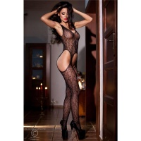 SEXY MESH BODYSTOCKING CATSUIT CROTCHLESS LINGERIE BLACK