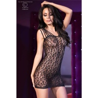 SEXY COARSE-MESHED CLUB MINIDRESS WITH LEOPARD PATTERN BLACK