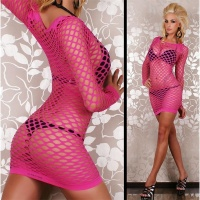 SEXY FISHNET DRESS GOGO CLUBWEAR FUCHSIA