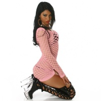 SEXY FISHNET DRESS GOGO CLUBWEAR PINK