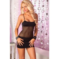 SEXY FISHNET MINIDRESS GOGO CLUBWEAR BLACK Onesize (UK 8,10,12)