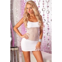 SEXY FISHNET MINIDRESS GOGO CLUBWEAR WHITE Onesize (UK 8,10,12)