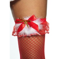 SEXY SUSPENDER FISHNET STOCKINGS CHRISTMAS MARABOU PLUMES RED