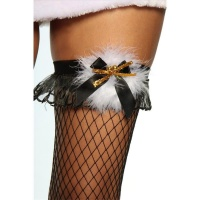 SEXY SUSPENDER FISHNET STOCKINGS CHRISTMAS MARABOU PLUMES BLACK