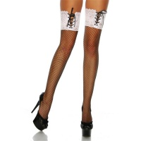 SEXY FISHNET SUSPENDER STOCKINGS WITH LACE EDGE BLACK/WHITE