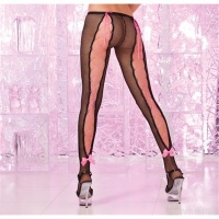 SEXY FISHNET PANTYHOSE WITH LACING BOWS BLACK/PINK