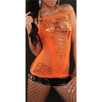 SEXY FISHNET STRAPPY TOP GOGO CLUBWEAR ORANGE