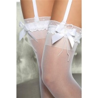 SEXY NYLON WEDDING STOCKINGS WITH SATIN BOWS LINGERIE WHITE