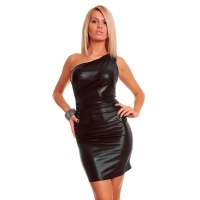 SEXY ONE-SHOULDER ABENDKLEID METALLIC-LOOK WETLOOK SCHWARZ