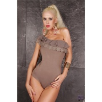 SEXY ONE-SHOULDER BODYSHIRT BODY WITH LACE CHIFFON KHAKI UK 12/14 (L/XL)