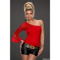 SEXY ONE-SHOULDER BODY-SHIRT MIT SPITZE ROT