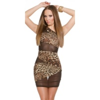 SEXY ONE-SHOULDER CLUB MINIDRESS WITH MESH LEOPARD/BLACK