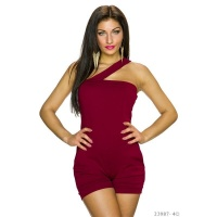 SEXY ONE-SHOULDER HOTPANTS OVERALL JUMPSUIT CLUBBING WINE-RED