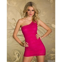 SEXY ONE-SHOULDER LACE MINIDRESS EVENING DRESS FUCHSIA