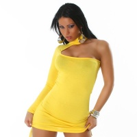 SEXY ONE-SHOULDER MINIDRESS YELLOW