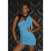 SEXY ONE-SHOULDER MINIKLEID KLEID BLAU