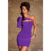 SEXY ONE-SHOULDER MINIKLEID KLEID LILA 36/38 (M/L)