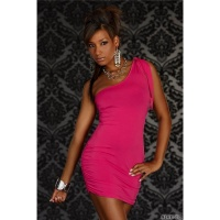 SEXY ONE-SHOULDER MINIKLEID KLEID PINK