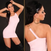 SEXY ONE-SHOULDER MINIDRESS PINK
