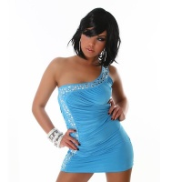 SEXY ONE-SHOULDER MINIDRESS WITH RHINESTONES TURQUOISE
