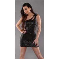 SEXY ONE-SHOULDER MINI DRESS WITH SEQUINS WET LOOK PARTY BLACK