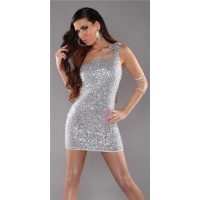 SEXY ONE-SHOULDER MINIDRESS WITH SEQUINS WET LOOK PARTY SILVER