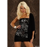 SEXY ONE-SHOULDER MINIDRESS WITH SILVER-PRINT BLACK UK 8/10 (S/M)
