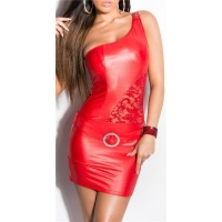 SEXY ONE-SHOULDER MINIKLEID MIT SPITZE WETLOOK PARTY ROT