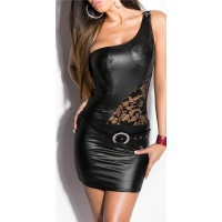 SEXY ONE-SHOULDER MINIDRESS WITH LACE WET LOOK PARTY BLACK Onesize (UK 8,10,12)