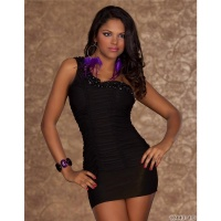 SEXY ONE-SHOULDER MINIDRESS WITH STONES BLACK