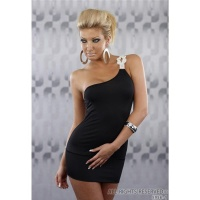 SEXY ONE-SHOULDER MINI DRESS WITH RHINESTONES BLACK