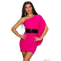 SEXY ONE-SHOULDER MINIDRESS WITH FLOUNCE SLEEVE INCL. BELT FUCHSIA