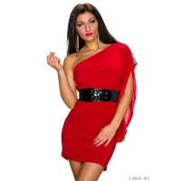 SEXY ONE-SHOULDER MINIDRESS WITH FLOUNCE SLEEVE INCL. BELT RED