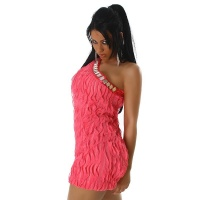 SEXY ONE-SHOULDER MINIDRESS WITH FLOUNCE-STRIPES FUCHSIA