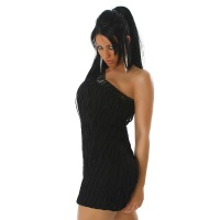 SEXY ONE-SHOULDER MINIDRESS WITH FLOUNCE-STRIPES BLACK