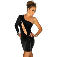 SEXY ONE-SHOULDER MINIDRESS WITH ZIPPER GOGO CLUBWEAR BLACK UK 10/12 (M/L)