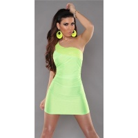 SEXY ONE-SHOULDER MINIDRESS PARTY DRESS WITH SEQUINS NEON-GREEN UK 8/10 (S/M)