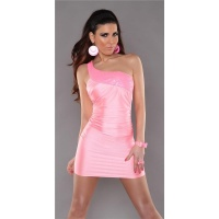 SEXY ONE-SHOULDER MINI DRESS PARTY DRESS WITH SEQUINS NEON-PINK UK 8/10 (S/M)