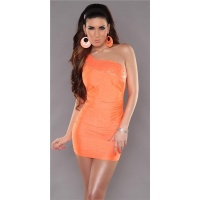 SEXY ONE-SHOULDER MINIDRESS PARTY DRESS SEQUINS NEON-ORANGE