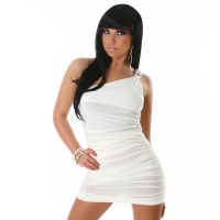 SEXY ONE-SHOULDER MINIDRESS WHITE