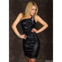 SEXY ONE-SHOULDER MINIKLEID WETLOOK CLUBWEAR SCHWARZ 36/38