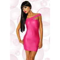 SEXY ONE-SHOULDER MINIKLEID WETLOOK GOGO CLUBWEAR PINK 34/36 (S/M)
