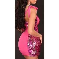 SEXY ONE-SHOULDER PARTY MINIKLEID MIT PAILLETTEN PINK