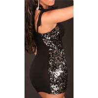 SEXY ONE-SHOULDER PARTY MINIKLEID MIT PAILLETTEN SCHWARZ