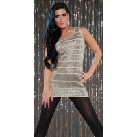 SEXY KNITTED ONE-SHOULDER MINIDRESS WITH SEQUINS PARTY BEIGE UK 10/12