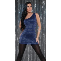 SEXY KNITTED ONE-SHOULDER MINIDRESS WITH SEQUINS PARTY BLUE UK 10/12