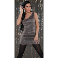 SEXY ONE-SHOULDER STRICK-MINIKLEID PAILLETTEN PARTY CAPPUCCINO